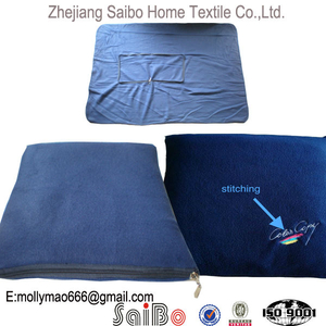 SGS Audited OEM Factory Navy Color Embroidery Fleece Blanket with Zipper