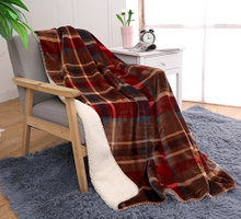 Double Layers Plaid Thick Polyester Blanket