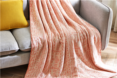 Pink Chinese Factory Wholesale Cheap Jacquard Cotton Flannel Blanket