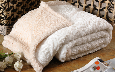 Soft And Warm Faux Fur Pv Fleece Knitted Blanket